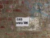 English: Bridge Number 05 BRB = Bridge - Brick, MWD = Market Weighton Division, 05 is the bridge number. This of course means that Rail Track has a duty of care over the state of this bridge, even though no engines have passed over it for 43 years.
