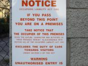 English: A notice conforming to §5(2)c of the Occupiers' Liability Act, 1995 in Ireland. The notice reads: Notice Occupiers Liability Act 1995 If you pass beyond this point you are on a premises Take notice that the occupier of this premises given the nat