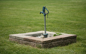 English: Outdoor faucet in a park in Champaign, Illinois.