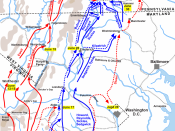 Map of the Gettysburg Campaign (up to July 3, 1863) of the American Civil War. Drawn by Hal Jespersen in Adobe Illustrator CS5. Graphic source file is available at http://www.posix.com/CWmaps/Gettysburg_Campaign.ai