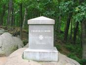 Regimental monument at the center of their lines on Little Round Top.