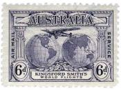 English: Postage stamp, Australia, 1931: commemorative issue for pioneer aviator Sir Charles Kingsford Smith (1837–1935).
