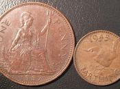 Old British Penny and Farthing (quarter penny) coins which inspired the name of the Penny-Farthing bicycle.