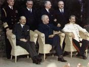 Clement Attlee, Harry Truman and Joseph Stalin at the Potsdam Conference, July 1945.