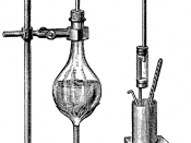 Drawing of an experiment to measure the latent heat of vaporization as steam condenses to water.