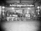 Stall advertising the Shell Company of New Zealand Ltd