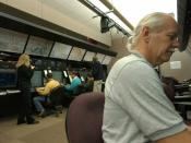 Air route traffic controllers at work at the Washington ARTCC.