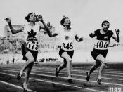 Myrtle Cook of Canada (left) winning a preliminary heat in the women's 100 metres race at the VIIIth Summer Olympic Games / Myrtle Cook (à gauche), du Canada, remportant une éliminatoire pour l'épreuve du 100 mètres femmes, aux VIIIe Jeux Olympiques d'été