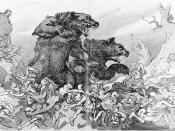 Theodore Roosevelt commanding two large bears