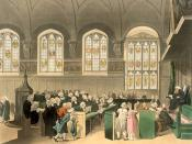 English: The Court of Chancery: This engraving was published as Plate 22 of Microcosm of London (1808) (see File:Microcosm of London Plate 022 - Court of Chancery, Lincoln's Inn Hall.jpg). Русский: Канцлерский суд Великобритании. Лондон, начало XIX века.