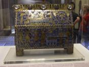 French enamelled casket made c. 1180 for Benedict to take some relics of Thomas Becket to Peterborough Abbey when he became its Abbot. As Prior of Canterbury Cathedral he had witnessed Becket's assassination in 1170. The casket is now in the Victoria and