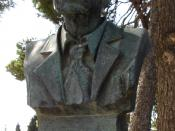 Archeologist Sir Arthur Evans, bust located at Knossos palace, Crete.