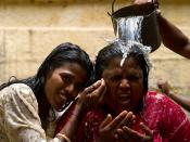 A Hindu ritual involving water in Alagarkoil, near Madurai, Tamil Nadu, India.