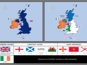 English: Flag map of the UK (+ constituent countries) and the Republic of Ireland.