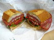 English: Photo I took of an Italian sandwich I bought at a deli in San Francisco.