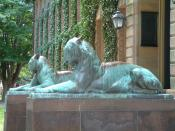 Bronze tiger sculptures by Alexander Phimister Proctor (1862-1950), dedicated 1909, in front of Nassau Hall doors; Princeton University; Princeton, New Jersey