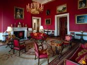 Red Room of the White House. On the left the door opened on the State Dining Room.
