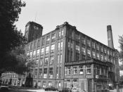 Elk Mill, on the Chadderton-Royton boundary, in Greater Manchester, England. Built 1926 and driven by a Parsons steam turbine that drove the mill by ropes and the neighbouring Shiloh Mills by electricity. It used cotton mules until 1974. Scrapped in 1983.