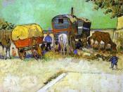 Vincent van Gogh: The Caravans - Gypsy Camp near Arles (1888, Oil on canvas)