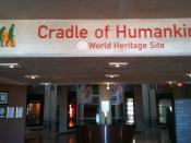 English: Sign greeting visitors in the lobby of Tumulus Building at Maropeng, near Johannesburg, South Africa