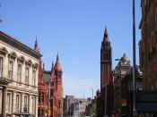Looking down Corporation St at the courts