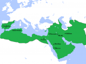 English: Locator map for the Umayyad Caliphate at its greatest extent, c. AD 750. (Partially based on Atlas of World History (2007) - World 500-750, map.)