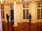 A golden lighting function room on the first floor