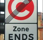 Signs indicate the boundary of the congestion charge area.