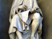 Sculpture of Brunelleschi looking at his cathedral dome