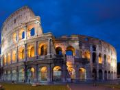 English: A 4x4 segment panorama of the Coliseum at dusk. Taken by myself with a Canon 5D and 50mm f/1.8 lens at f/5.6
