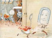 The spoon runs away with the dish in this Caldecott image that shows movement characteristic of his illustrations.