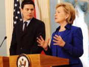 English: David Miliband, British Secretary of State for Foreign and Commonwealth Affairs, with Hillary Clinton, United States Secretary of State, at a press conference following their meeting in Washington, D.C.