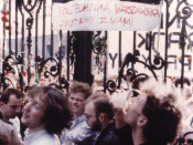 Picture taken in May 1988 near main gate of Warsaw University during polish students' demonstration.