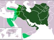 The Sassanid Empire after its conquest of Mesopotamia, Palestine, Syria and Egypt under Khosrau II in ca. 620 AD