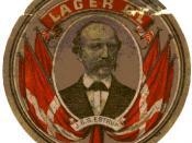 English: Beer coaster (?) with J.B.S. Estrup's portrait