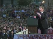British Prime Minister Tony Blair Speaks In Armagh, Northern Ireland.