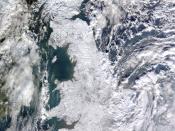 English: Satellite image of snow-covered Great Britain on 7 January 2010, taken by MODIS on NASA's Terra satellite. Français : Image satellite prise le 7 janvier 2010 de la Grande-Bretagne sous la neige, par le satellite Terra de la NASA. Echelle : 1 pixe