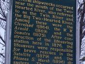 English: State of Michigan historic marker for the Two Hearted Life-saving Station