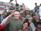 WWE Champion John Cena poses with Marines at Camp Pendleton at the premiere of his new movie