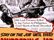 'stay on the job until every murdering jap is wiped out!' World War II poster
