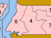 Map of the provinces of Equatorial Guinea, numbered in Spanish (native language) alphabetical order, mostly compatible with English. The islands are farther away from the mainland and each other than represented on this map, hence the lines between them.