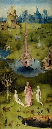 Inner left panel of the triptych of the Garden of Eartly Delights.