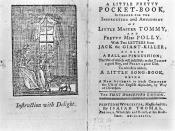 The title page from A Little Pretty Pocket-Book (1744) promises the reader two letters from Jack the Giant Killer.