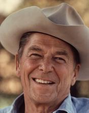 Ronald Reagan wearing cowboy hat at Rancho del Cielo.