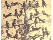 English: A quasi-racist drawing of blacks in the 1890s, made by whites. The caption says