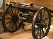 A photograph of a British 1865 Gatling gun at Firepower - The Royal Artillery Museum.