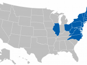 Map of the states of member institutions of the Eastern College Athletic Conference