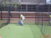 Cricketer Shaun Pollock batting in the nets at the University of Western Australia