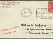 1929 machine cancellation used to cancel 1d stamp on first flight cover from Nassau to Miami