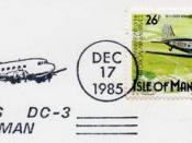 Cancellation showing Douglas Isle of Man and Douglas DC 3.